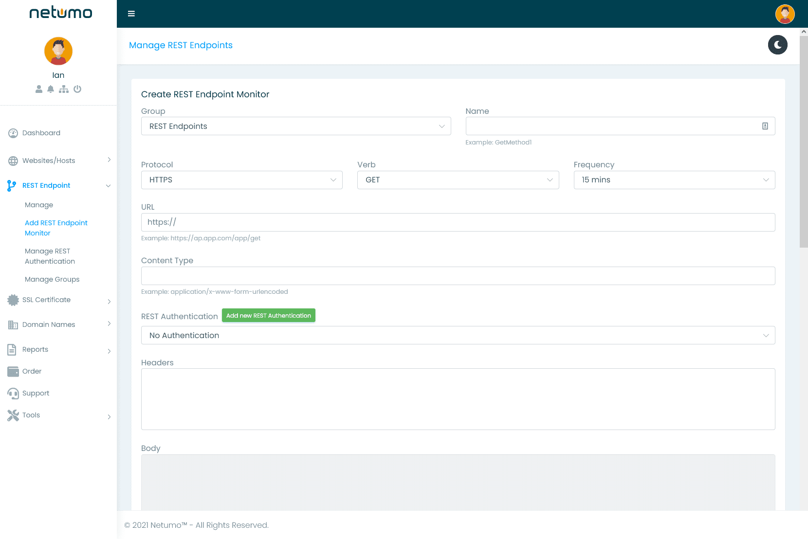 RESTful services monitor